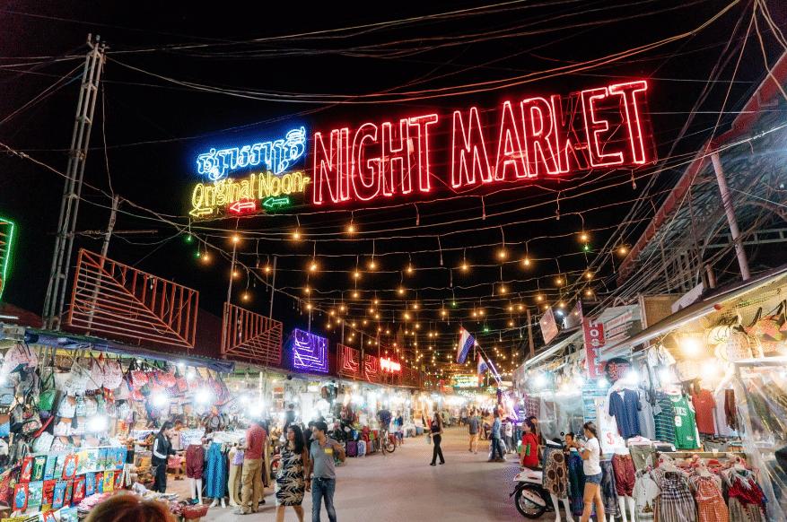 Entrada del Night Market en Siem Reap-Camboya