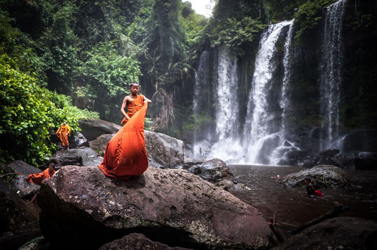 Imagen de la cascada de Phnom Kulen, en Angkor