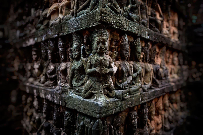 Detalle de la Terraza del Rey Leproso, en Angkor