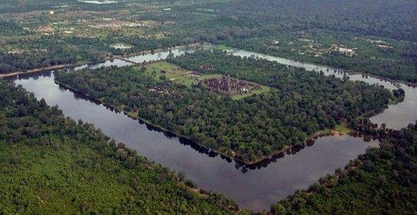 Imagen aérea de Angkor Thom, Camboya