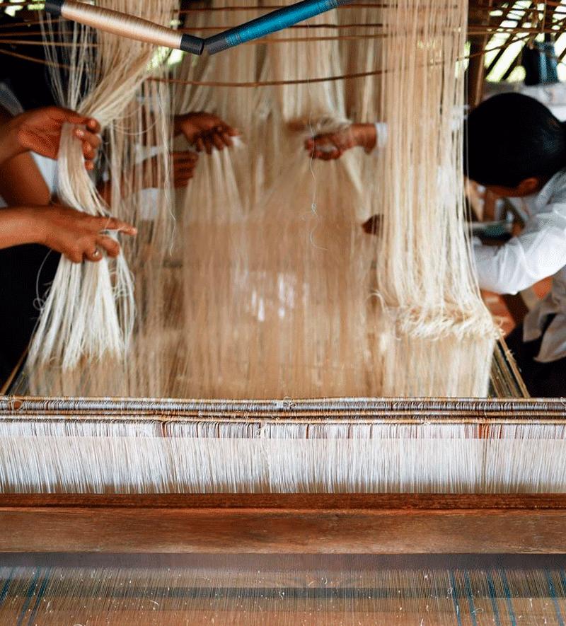 Mujeres trabajando en la granja Golden Silk en Camboya