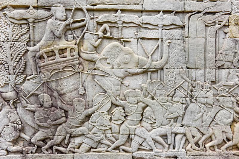 Bajo relieve elefantes en Angkor
