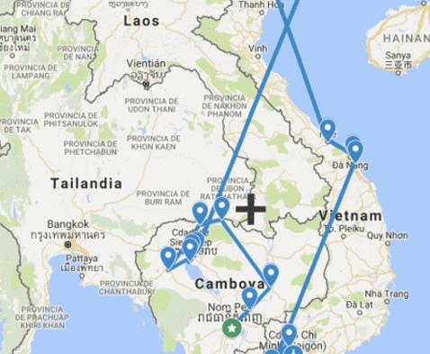 Mapa Camboya Vietnam Angkor